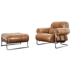 "Italian Leather ""Tucroma"" Lounge Chair and Ottoman by Guido Faleschini"