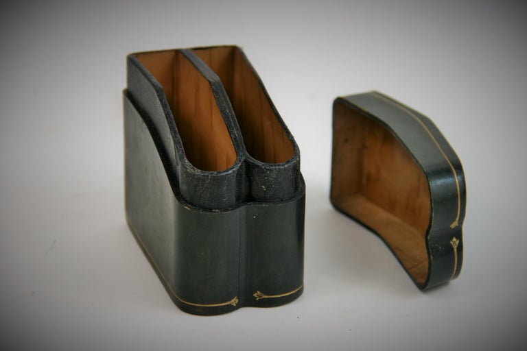 Late 20th Century Italian Leather Two Deck Card Box For Sale