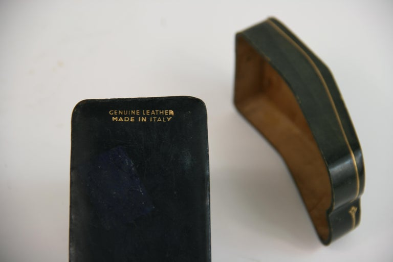 Italian Leather Two Deck Card Box For Sale 1