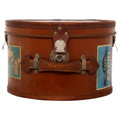Italian Leather vintage Hatbox with Steel Inserts and Stickers, 1930s