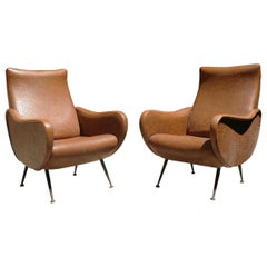 Italian Leatherette Armchairs from 1950s in the Style of Lady Armchair by Zanuso