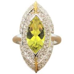 Italian Lemon Quartz Diamond Gold Navette Ring
