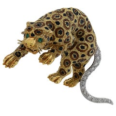Italian Leopard Diamond and Emerald Brooch Pin