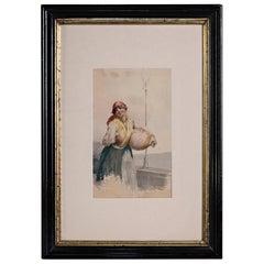 """Italian, Leopoldina Zanetti Borzino Lithograph """"Napolitano Girl with Water Jug"""""""