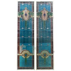 Italian, Liberty, Double Blue Stained Glass, Early 1900s
