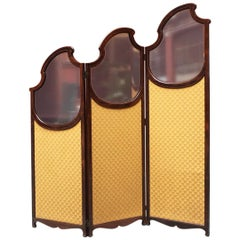 Italian Liberty Walnut and Glass Screen with Three Doors, 1900s