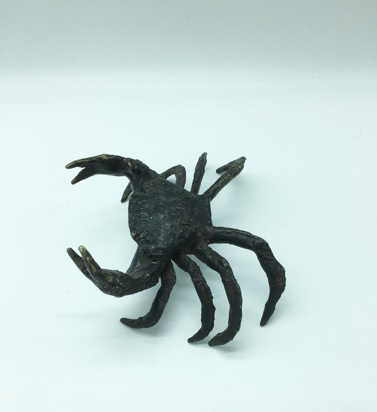 Mid-Century Modern Italian Life-Size Bronze Crab For Sale