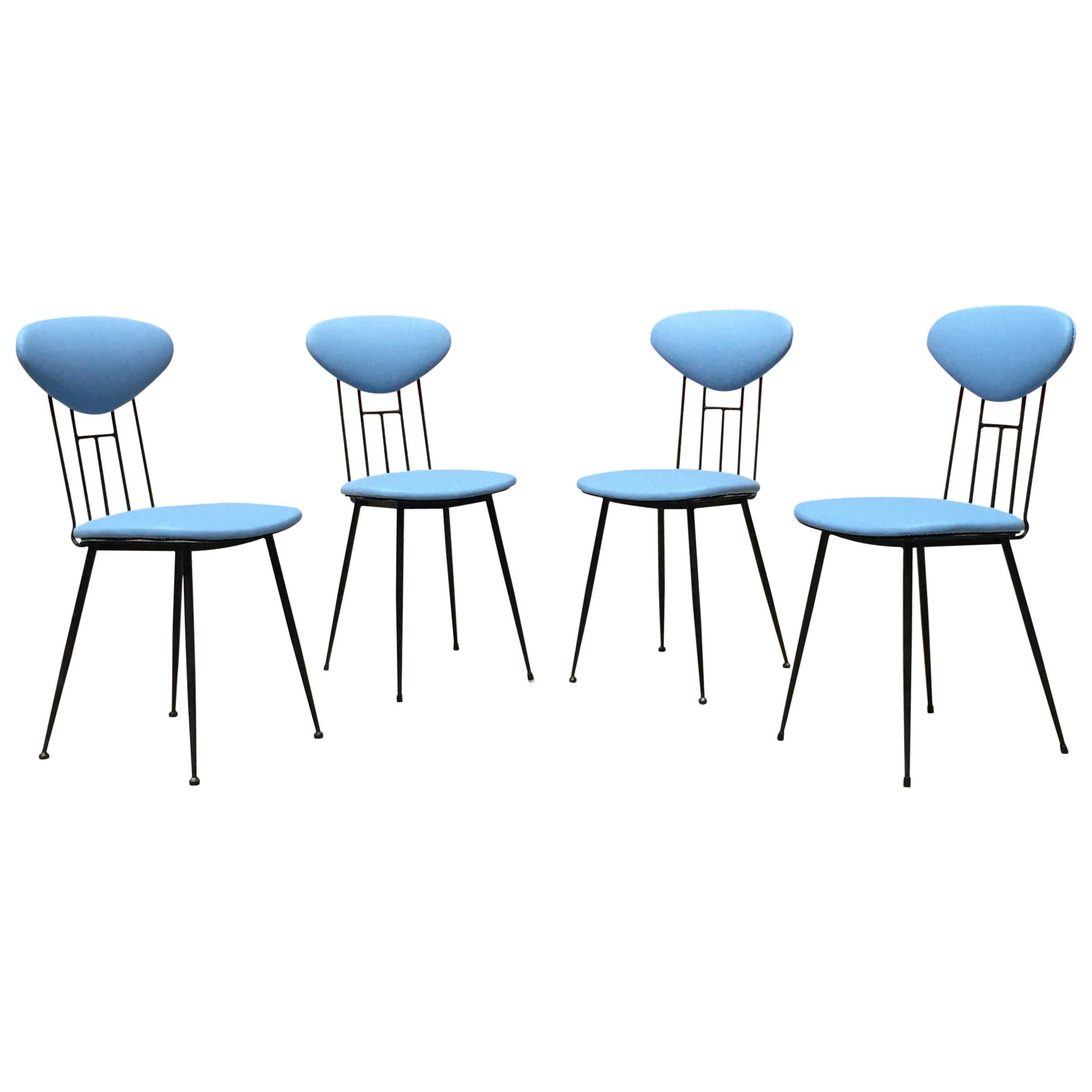 Italian Light-Blue Leatherette and Black Metal Chair, 1980s