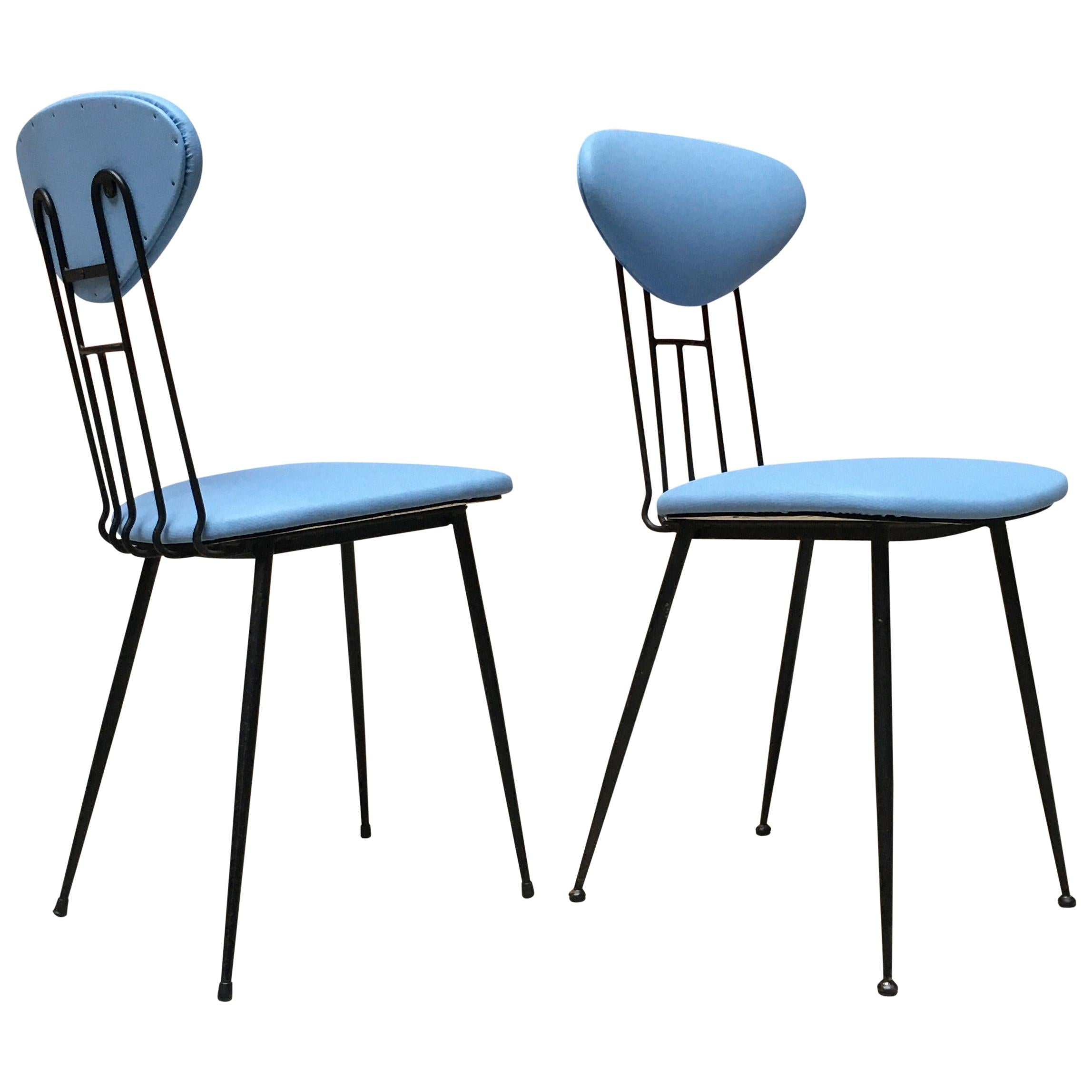Italian Light-Blue Leatherette and Black Metal Chairs, 1980s