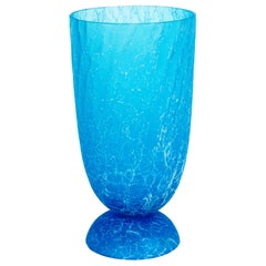 Italian Light Blue Vase with Cracks Blown Murano Glass, Signed Cenedese, 1970s