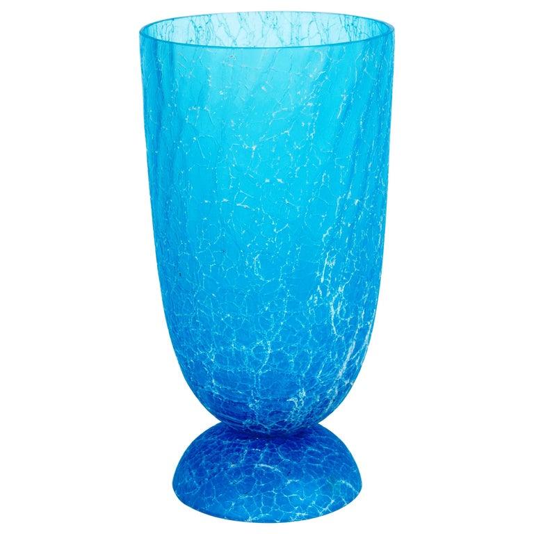 Italian Light Blue Vase with Cracks Blown Murano Glass, Signed Cenedese, 1970s For Sale