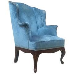 Italian Light-Blue Velvet, Wingback Style Armchair, 1950s