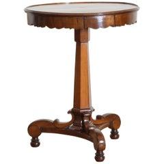 Italian Light Walnut, Larice, and Inlaid 1-Drawer Center Table, circa 1840