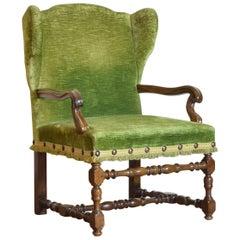 Italian, Liguria, Louis XIV Period Walnut and Upholstered Poltrona