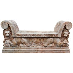 Italian Lions Hand Carved Red Verona Marble Bank