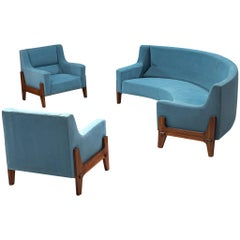 Italian Living Room Set in Rosewood and Sky Blue Upholstery