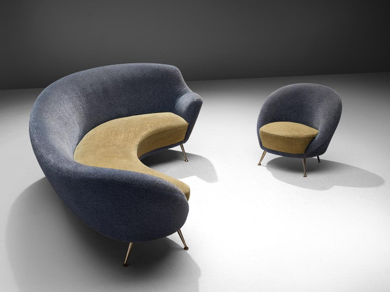 Mid-Century Modern Italian Living Room Set with Curved Sofa and Easy Chair For Sale