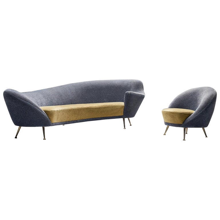Italian Living Room Set with Curved Sofa and Easy Chair For Sale