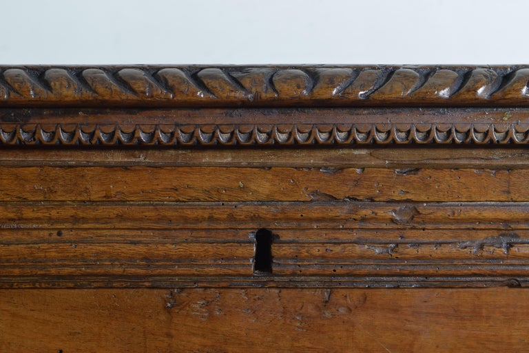 Italian, Lombardia, Baroque Carved Walnut Cassone, 17th Century For Sale 5
