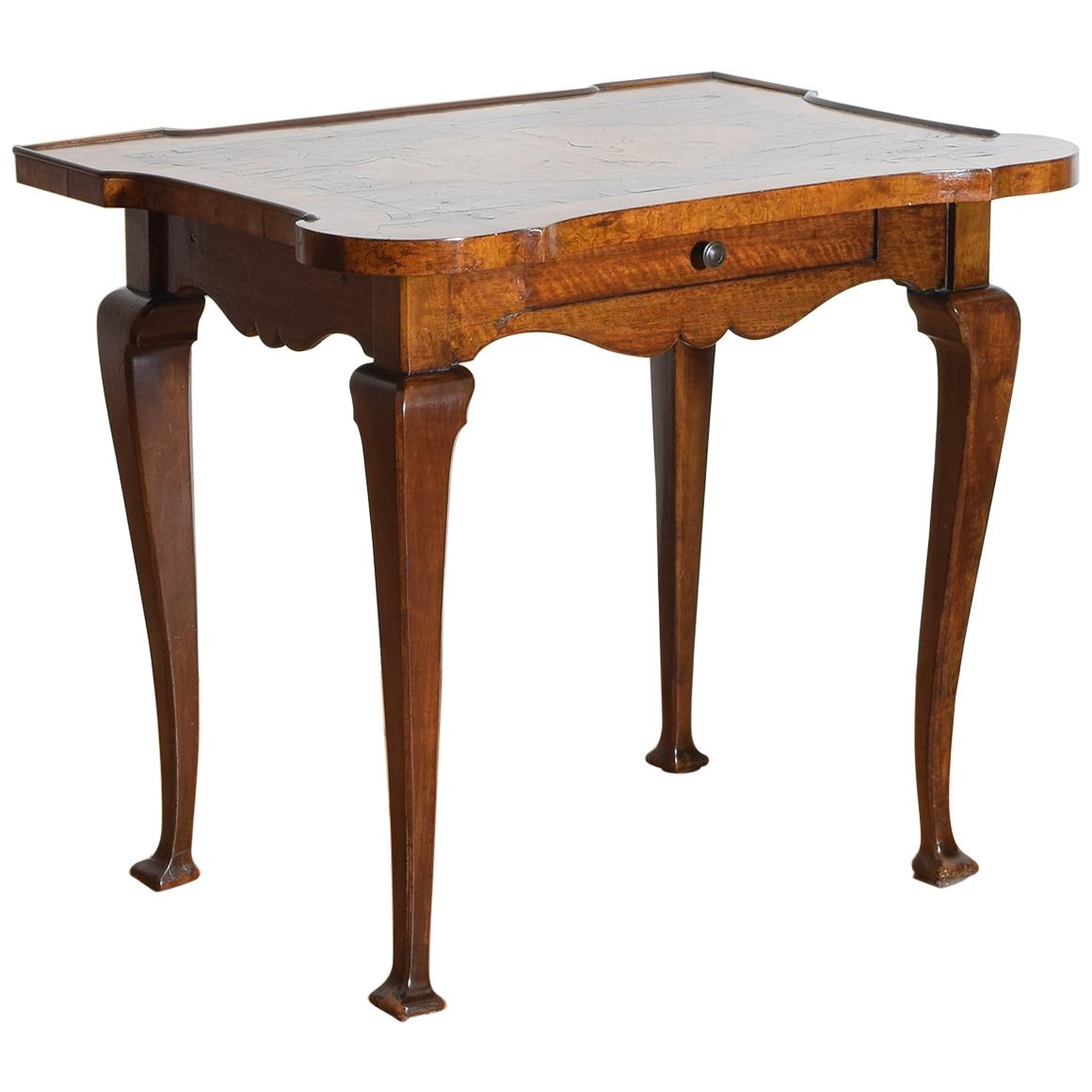 Italian, Lombardia, Shaped Walnut and Inlaid 1-Drawer Table, 18th Century