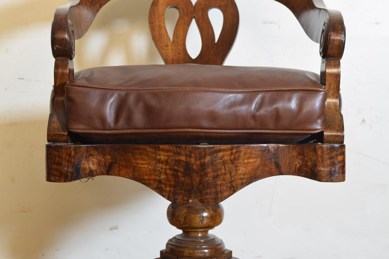 Italian, Lombardia, Walnut Swivel Desk Chair, Early 19th Century 4