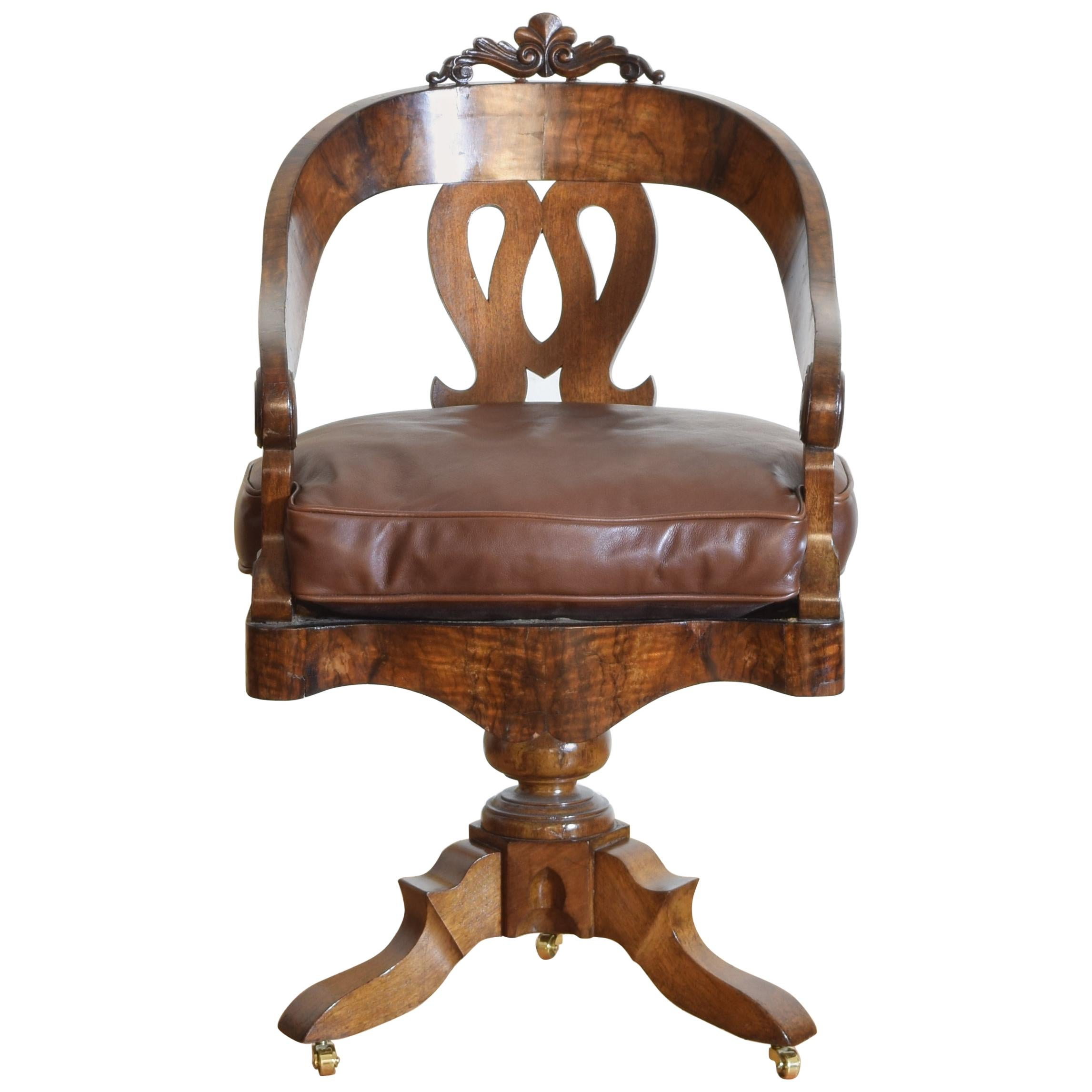 Italian, Lombardia, Walnut Swivel Desk Chair, Early 19th Century