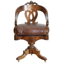 Italian, Lombardia, Walnut Swivel Desk Chair, Early 19th Century