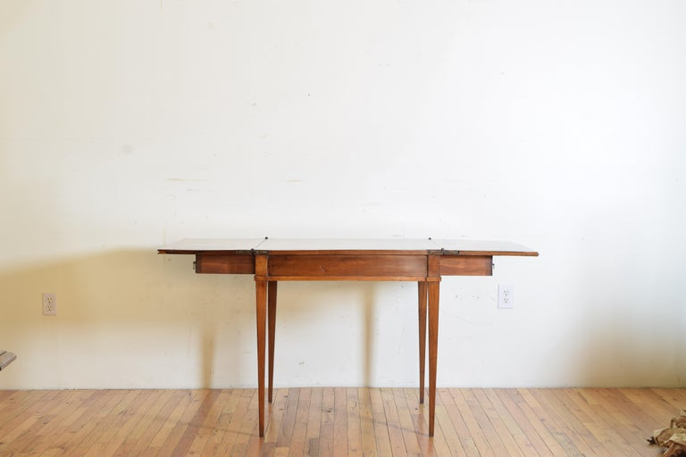 Early 19th Century Italian, Lombardy, Directoire Cherrywood Folding Games Table, circa 1810 For Sale