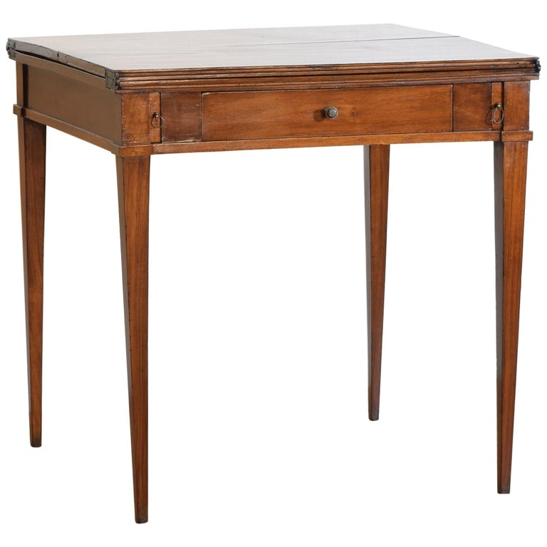 Italian, Lombardy, Directoire Cherrywood Folding Games Table, circa 1810 For Sale