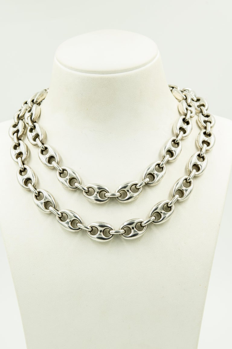 Italian Long Anchor Mariner Link Silver Chain Necklace For Sale 1