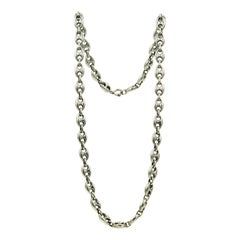 Italian Long Anchor Mariner Link Silver Chain Necklace