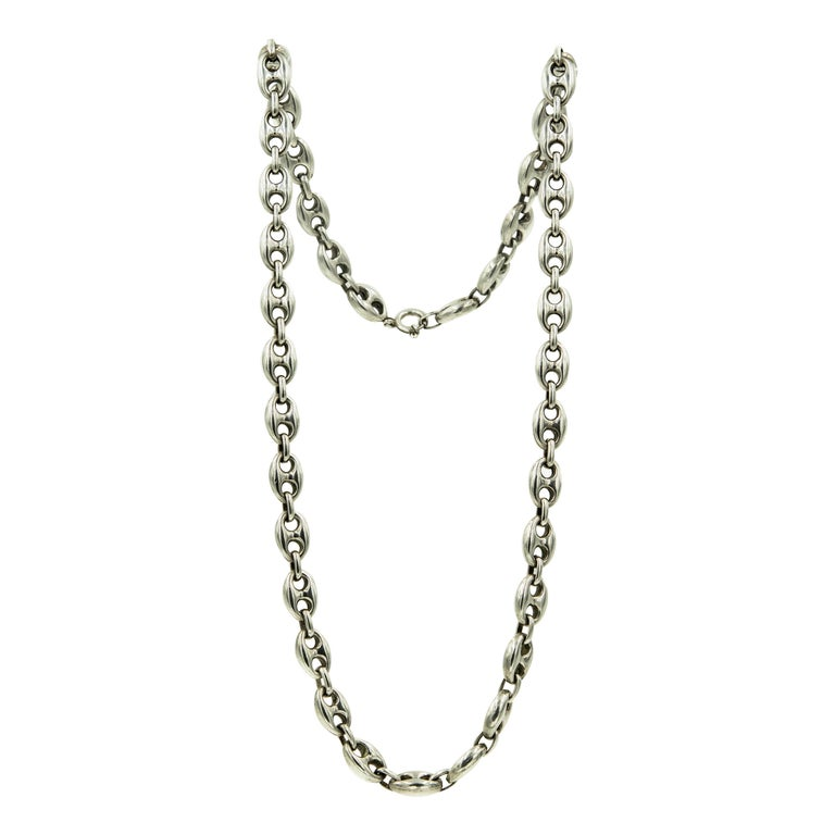 Italian Long Anchor Mariner Link Silver Chain Necklace For Sale