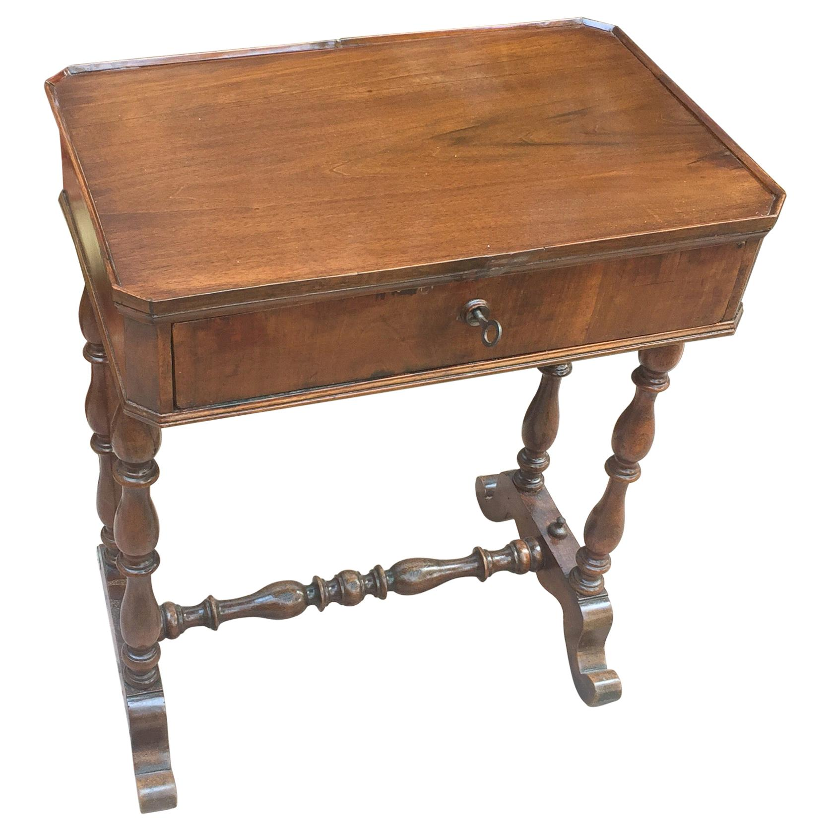 Italian Louis Philippe Side Table 19th Century Sewing Table