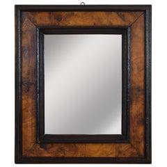 Italian Louis XIII Ebonized and Olivewood Veneer Mirror, Early 18th Century
