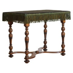 Italian Louis XIV Period Walnut & Ebonized Table, Velvet Top, Early 18th Century