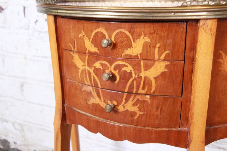 Italian Louis XV Inlaid Marquetry Mahogany Brass Gallery Demilune Nightstands For Sale 7