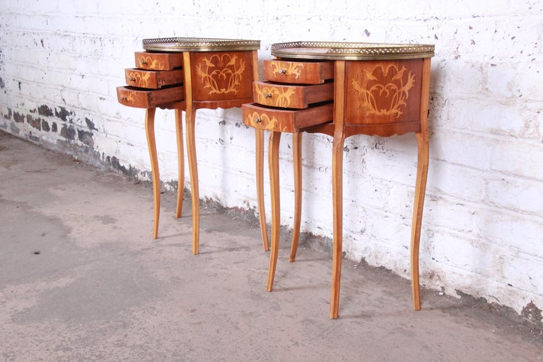 Italian Louis XV Inlaid Marquetry Mahogany Brass Gallery Demilune Nightstands For Sale 8