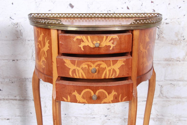 Italian Louis XV Inlaid Marquetry Mahogany Brass Gallery Demilune Nightstands For Sale 9