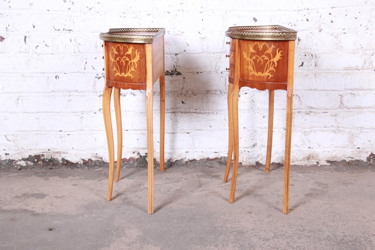 Italian Louis XV Inlaid Marquetry Mahogany Brass Gallery Demilune Nightstands For Sale 10