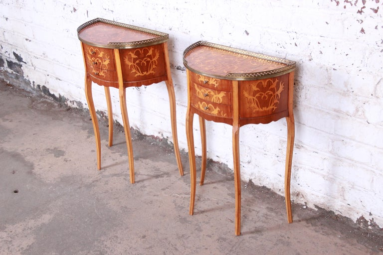 Mid-20th Century Italian Louis XV Inlaid Marquetry Mahogany Brass Gallery Demilune Nightstands For Sale