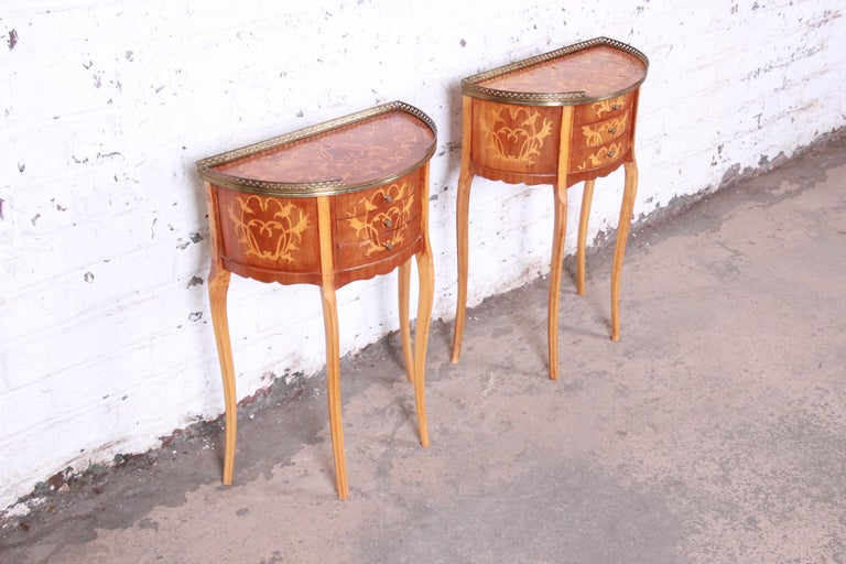 Italian Louis XV Inlaid Marquetry Mahogany Brass Gallery Demilune Nightstands For Sale 1