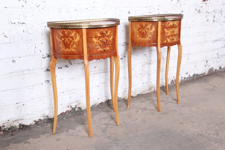 Italian Louis XV Inlaid Marquetry Mahogany Brass Gallery Demilune Nightstands For Sale 2