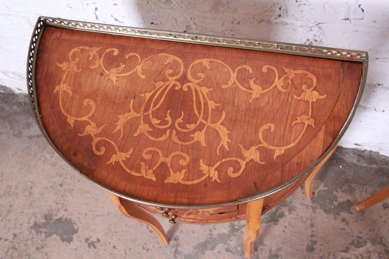 Italian Louis XV Inlaid Marquetry Mahogany Brass Gallery Demilune Nightstands For Sale 4