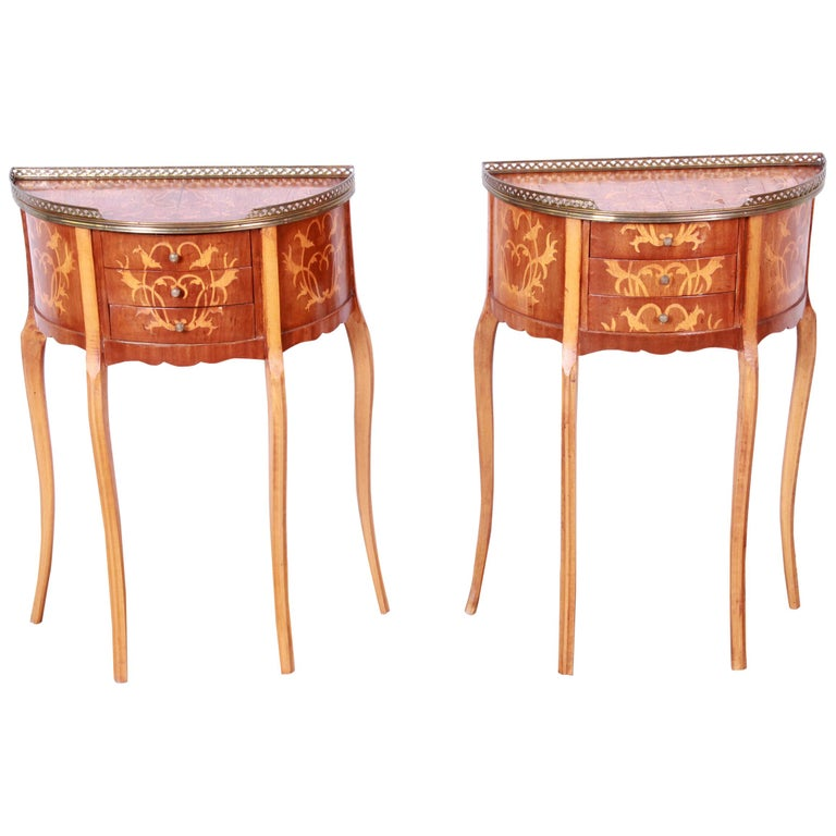 Italian Louis XV Inlaid Marquetry Mahogany Brass Gallery Demilune Nightstands For Sale