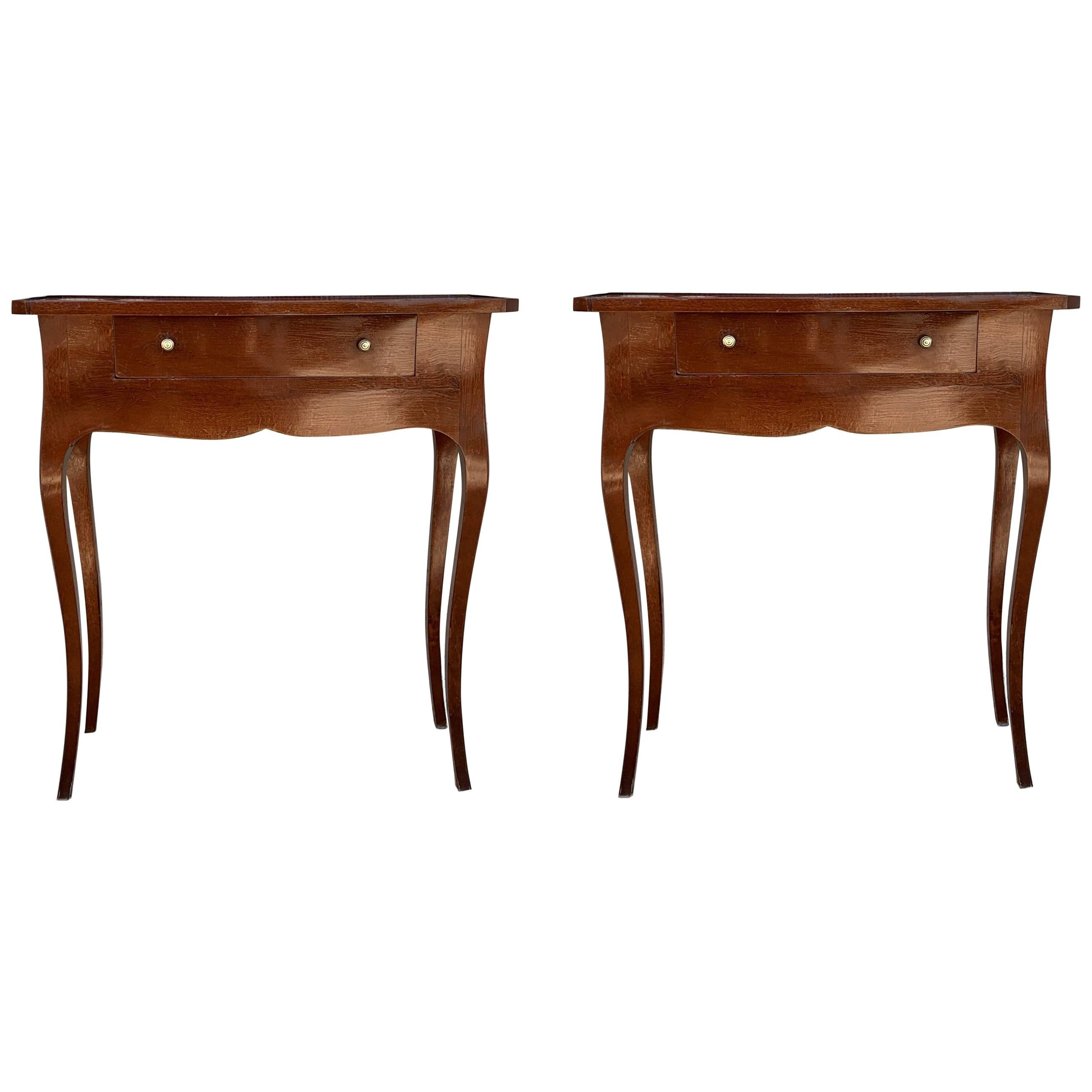 Italian Louis XV Style Cherry Pair of Nightstand or End Side Tables
