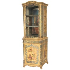 Italian Louis XV Style Chinoiserie Decorated Display Cabinet