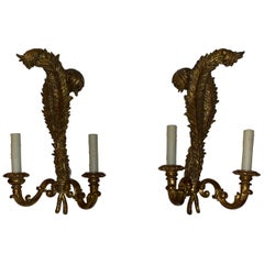 Italian Louis XV Style Giltwood 2-LT Sconces