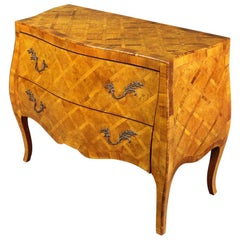 Italian Louis XV Style Inlaid Olivewood Bombe Commode Dresser
