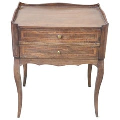Italian Louis XV Style Inlaid Walnut Side Table or Nightstand