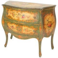 Italian Louis XV Style Painted Bombe Commode